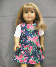 """18"""" American Girl: Doll Clothes - White T-Shirt & Floral Denim Jumper Outfit"""