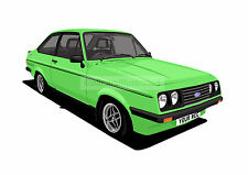 FORD ESCORT RS2000 GRAPHIC CAR ART PRINT (SIZE A4). PERSONALISE IT!