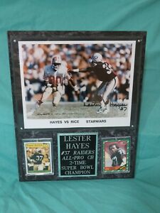 Oakland Raiders Lester Hayes Signed Autographed 8x10 Photo on Plaque with Cards