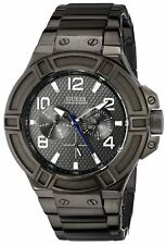New Guess Men U0218G1 Rigor Round Multi Dial Stainless Gunmetal IP Band Watch