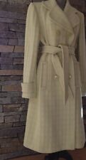 1960's Style Geometric Print - Wool - Trench Coat - Ivory & Lime Green - Large