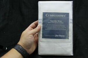 Cuddledown 400 TC Queen Standard Pillow Case Pair Sateen White/Lake (0144)