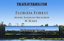 "Train Junkies N Scale ""Florida Forest"" Model Railroad Backdrop 80""x12"""