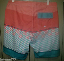 48d60bb70e New Mantaray Beach M L Orange Blue Multi Striped Board Shorts Boardies  Swimwear