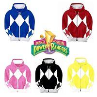 Mighty Morphin Power Rangers Hooded Zip Sweatshirt Adult Costume TV Show