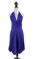Cache Dress Womens 10 Purple Halter Pleated Skirt V Neck Cocktail Party New