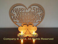 Personalised Tea light holder  Wedding Anniversary Keepsake gift  Mdf 6mm thick