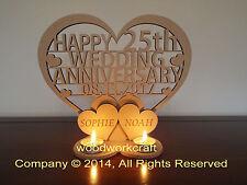 Personalised Tea light holder  Wedding Anniversary Keepsake gift  Mdf 6mm thick
