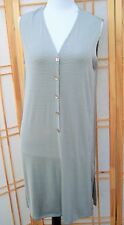 Kim and Company Lagenlook Long striped gray and black Vest stretchy Vtg 90s L
