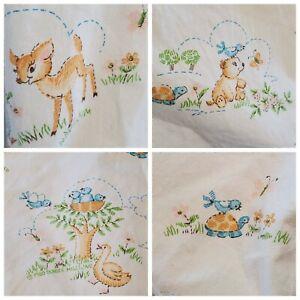 Vintage Dundee Mills Animals Bear Deer Birds Rabbits Standard Crib Sheet Unisex