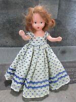 Nancy Ann Storybook Doll School Days Blue Swiss Dot Dress Brunette Vintage