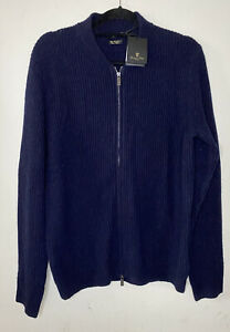 Massimo Dutti Navy Ribbed Wool & Cashmere Full Zip Cardigan Size L BNWT