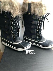 New Sorel Women Joan Of Arctic Tall Black Fur Winter Snow Boots -32oC Sz 7.5