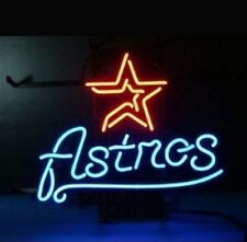 "Houston Astros Logo Neon Lamp Sign 20""x16"" Bar Light Beer Glass Windows Display"