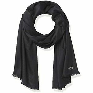 $48 Calvin Klein Womens Ombre Lurex Polyester Lightweight Wrap Black One Size