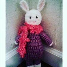 Amigurumi Girl Boy Hand Knit Crochet Toy Bunny Stuffed Animal White Purple Scarf