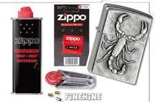 SCORPION Emblem-ZIPPO mit Zubehör: Docht, Benzin + Flints NEU+OVP