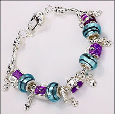 925sterling solid Silver European Murano Glass Beads  blue Charm Bracelet PXB035