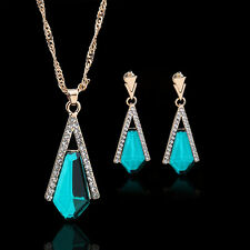 Women's Fashion Rhinestone Crystal Gold Plated Earrings and Necklace Jewelry Set