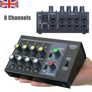 Ultra Compact Low Noise 8 Channels Metal Mono Stereo Audio Sound Mixer Black UK
