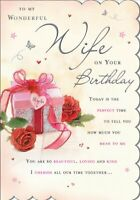 Wonderful WIFE Birthday Card - Wrapped Gift & Red Roses 9 x 6.25 Inches - Regal