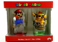 Brand New Super Mario Pint Glass Set of 2 16oz- Mario and Bowser Glasses Funky