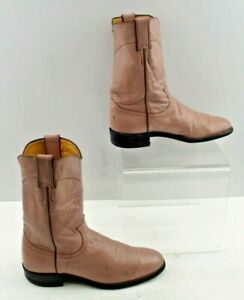 Ladies Justin Light Pink Roper Western Cowgirl Boots Size: 8 A *NARROW WIDTH*