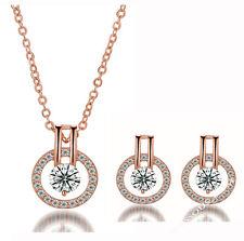 Deluxe Halskette + Anhänger + Ohrringe 3er Set Diamant Damen Collier Goldkette