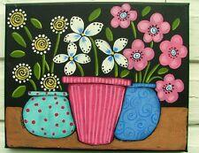 Whimsical Floral painting original  art GOSHRIN