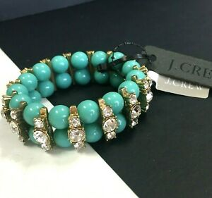 New J. CREW Turquoise Beaded Statement Bracelet Rhinestone Stretch $32.50 LL88o