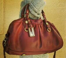 MARC BY MARC JACOBS burgundy Pebbled Leather Classic Q Groovee Hobo shoulder Bag