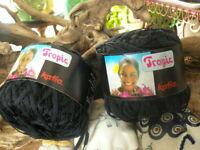 NEW Lot of 2 Balls ~ Tropic by Katia Cotton & Rayon Ribbon Yarn ~ #7316 Black