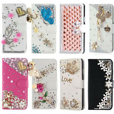 New Luxury Bling Crystal Flip Leather Wallet Stand Case Cover For Samsung Galaxy