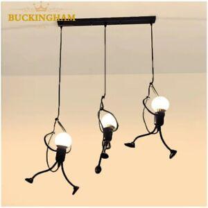 little man climbing pendant light modern hanging lamp creative iron people light