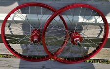 "20"" 7X style Sealed High Flange BMX Wheels Freewheel Pair Red Anodized"