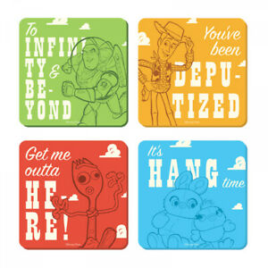 Genuine Disney Pixar Toy Story 4 Set of 4 Coasters Drinks Mat Forky Ducky Bunny