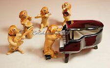 Dachshund Dog Music Band Ceramic Pottery Statue Animal Miniature Figurine#4