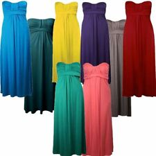 New Ladies Plus Size Strapless Bandeau Boob Tube Knot Maxi Dress 8-26