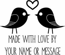 Personalised Handmade By Stamp - Love birds