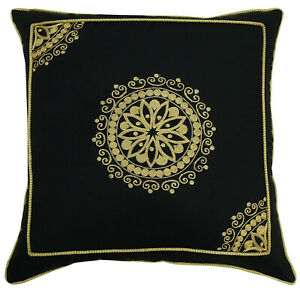 S4Sassy Black Cotton Pillow Cover Decorative Pillows Indian Floral-HtP