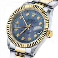 Ladies Rolex 26mm Datejust Two Tone Tahitian MOP Mother of Pearl Diamond Dial+ C