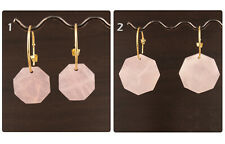 AAA++ Quality Pink Rose Quartz 24k Gold Plated Hoop Bali Making Earring Pairs