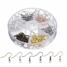 120Pcs Earring Hooks Ear Wires Stainless Steel Fish Hook with Storage Case NA
