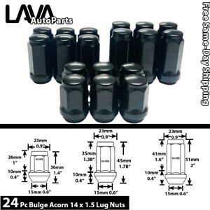 "24PC M14X1.5 BLACK 3/4"" HEX BULGE ACORN LUG NUT FIT CHEVY MODELS & MORE"