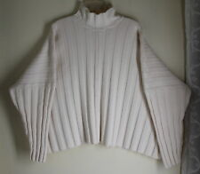 Eskandar O/S CREAM Cotton Ribbed Mock-Turtleneck Boxy Minimalist Sweater