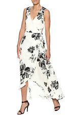 NASTY GAL DANCE & MARVEL Ivory & Black Floral Wrap Dress, Sz S NWT