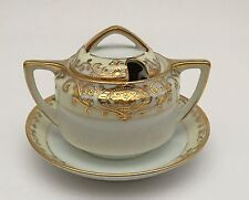 Noritake 175 16034 Gold Christmas Ball Mustard Pot W/ Lid & Attached Underplate