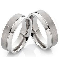 2 Verlobungsringe Eheringe aus Titan Trauringe echtem Diamant Ring Gravur TB006