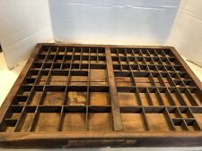 "Vintage Printer's Drawer Tray Shadow Box Wooden 21-5/8"" x 16-1/2"""