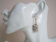 Goldfarbene Ohrringe mit facettierten Opalglas? Kugel-Anhängern 6,6 g/H:5,0 cm